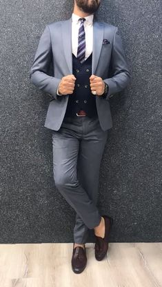 Collection: Spring Summer 2019 Product: Slim-Fit Wool Suit Color Code: Blue Size: Suit Material: wool royal lycra Machine Washable: No Fitting: Slim-fit Package Include: Jacket Vest Pants Only Gifts: Shirt Chain and Neck Tie Mens Wedding Suits Navy, Mens Casual Suits, Dress Suits For Men, Stylish Mens Outfits, Wedding Outfits For Men, Suit For Men, Summer Wedding Suits, Man Suit, Formal Suits
