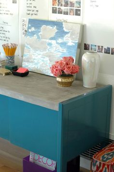 DIY Concrete-Topped Office Credenza - DIY glossy paint and concrete top