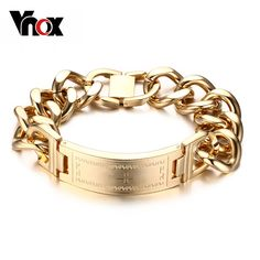 Vnox Cross ID Bracelet Bangle Gold-color and Silver color Stainless Steel Metal Male Jewelry