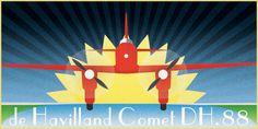 Art Deco homage to the de Hav DH88 Comet plane