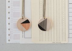 illustrated wooden necklace by depeapa on Etsy