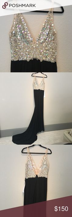 Just In Time For Prom Season! NWT Cache evening gown with bling top by Jovani. Very beautiful and sexy, yet very classy. The top is all hand applied. It has a high slit on the left side and also has a longer train. Jovani Dresses Prom