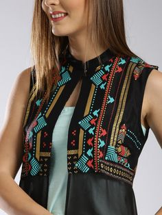 Buy W Black Printed Sleeveless Longline Sheer Ethnic Jacket - Jackets for Women Kaftan Designs, Simple Kurti Designs, Kurta Designs Women, Blouse Designs, Kurti Embroidery Design, Embroidery Fashion, Modest Fashion Hijab, Fashion Outfits, Boho Fashion
