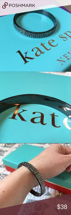Kate Spade Crystal Bangle Bracelet Gorgeous dark grey gunmetal colored bracelet with crystals. EUC, all crystals in place and minimal signs of wear. kate spade Jewelry Bracelets