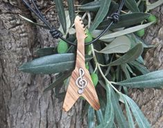 Guitar Flying V pendant inlaid with silver by ellenisworkshop