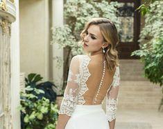 Elfenbein Chiffon Hochzeit Kleid L19 mit Spitze, Spitze a-Linie Brautkleid mit Schleppe, romantisches Brautkleid mit offenen Rücken, böhmische Brautkleid