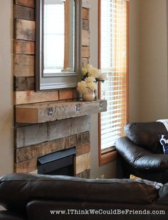"""Palette Wood Fireplace Makeover-looks like re-claimed wood! and look at the """"baby gate"""",too. Pallet Fireplace, Wood Fireplace Surrounds, Fireplace Bookshelves, Shiplap Fireplace, Old Fireplace, Rustic Fireplaces, Farmhouse Fireplace, Fireplace Remodel, Modern Fireplace"""