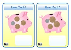 Hands on Money activity. Each piggy bank contains coins. Pupils can use the cards to add up the amounts (mixed coins - and or build the amo. Money Math Games, Money Activities, Eyfs Activities, Teaching Resources, Primary School Teacher, Primary Teaching, Teaching Math, Guided Maths, Early Years Maths