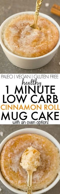 Healthy 1 Minute LOW CARB Cinnamon Roll Mug Cake- Light, fluffy and moist in the inside! Single servinf and packed full of protein and NO sugar whatsoever-Even the creamy glaze! {vegan, gluten free, p