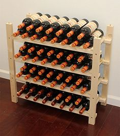Wine Racks - Stackable 60 Bottle Capacity Wine Rack Wooden Stand 60 Bottles rows * You can find more details by visiting the image link. Wine Cellar Racks, Wood Wine Racks, Wine Rack Wall, Wine Rack Storage, Wine Rack Cabinet, Wine Barrel Wall, Stackable Wine Racks, Wine Barrel Furniture, Wine Bottle Opener