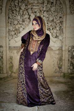 "aljalabiya.com: ""Velvet Darling"" kaftan with gold print and embroidery (N-13343-6) $219.00"