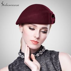 Vintage Women Ladies Elegant 100% Cloche Wool Hat Red Black Beret Cap High-end Airline Stewardess Hats Great, huh? #shop #beauty #Woman's fashion #Products #Hat