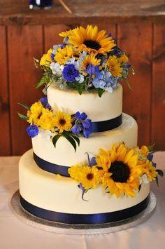 Navy blue and yellow wedding sunflowers wedding cake Susan Schapper