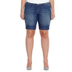 Levi's Cuffed Denim Bermuda Shorts - Women's Plus