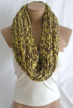 Hand Knitted Yellow Brown Hooded Cowl/Scarf/Neck warmer arzusstyle on etsy $29.90