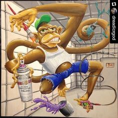 """The #streetart scene in #denver is packed with talent!  #Repost @dreadicrgod with @repostapp  First painting of the year. Time to work on a bunch more. Had fun with this guy. It's called """"The patient is non-responsive to conventional treatment"""" acrylic on wood. #monkey #crazy #paddedroom #tattoo #painting #paintbrush #rusts #bucketpaint #treatment #selfportrait #newyears #ink #monkeybizness #bannanalove #wood #canvas  #graffiti ##spraypaint #collaboration #installation #art"""