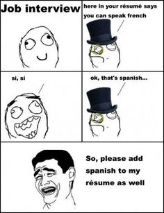 Job Interview - please add spanish to my resume