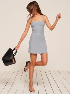 This is a mini length, fit and flare dress with a straight neckline and strap ties. Chicos Fashion, Fashion Outfits, Casual Dresses, Short Dresses, Summer Dresses, Silky Dress, Looks Style, Get Dressed, Dress To Impress