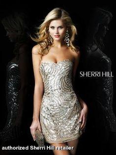 147509f6517 #SherriHill nude gold sequin bling sexy short dress 2781  www.pzazdresses.com New