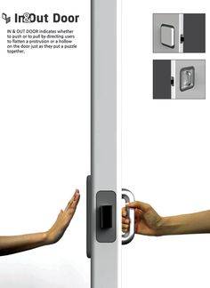 """The In & Out Door solves the problem of indicating push or pull on doors by making the door handle intuitive. On the """"push"""" side, there is a flat panel and on the """"pull"""" side there is a handle."""