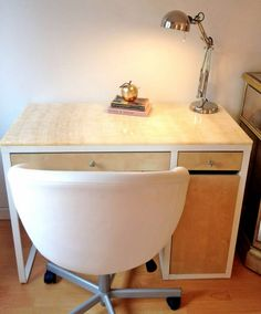 I wouldn't do a stone top, but solid wood might be sufficient - IKEA Ikea Linnmon, Ikea Micke, Kids Table And Chairs, Kid Table, Ikea Study Table, Study Tables, Hack Ikea, Desk Hacks, Ikea Dresser
