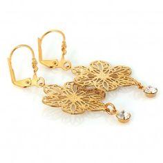 Blumenohrringe mit Swarovski Gold