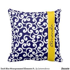 Dark Blue Monogrammed Elements Print Pillows