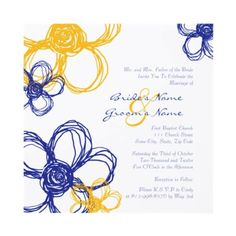 Blue and Yellow Wild Flowers Wedding Invitation by TheBrideShop