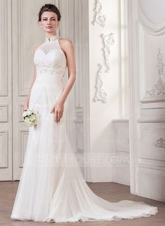 Trumpet/Mermaid High Neck Court Train Tulle Wedding Dress With Ruffle Lace Beading Sequins (002056961)