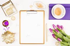 Styled gold clipboard with purple tulips and desk accessories - white background - blog, social media, branding and marketing - 0108  The photograph is high resolution at 5472 x 3648 pixels, 300 dpi.  Image format: JPG and layered PSD.  This listing is a digital product, no physical item will be delivered.  Watermark will not appear in downloaded files, it is used only on preview images.  Instant download.  Thank you for shopping at JustLikeMyDesktop!  Keywords: styled stock photography…
