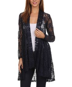 Pretty Young Thing Navy Floral Lace Drape-Hem Cardigan by Pretty Young Thing #zulily #zulilyfinds
