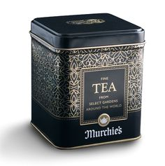 Gorgeous black and gold tea tin by Murchie's