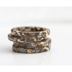 Resin Stacking Ring Black Gold Flakes Thin Small Ring OOAK dark gray glam minimalist jewelry rusteam ($29) found on Polyvore