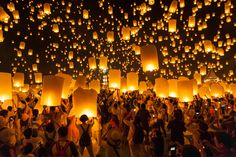 Looking for places to visit in Thailand? Here is our top list of unusual places to add to your Thailand bucket list. Although traveling Thailand is. Floating Lantern Festival, Floating Lanterns, Sky Lanterns, Paper Lantern Lights, Paper Lanterns, Endless Night, Celebration Around The World, Festivals Around The World, Reisen In Europa