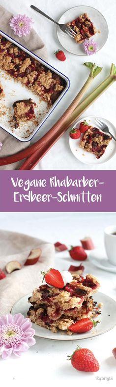 Knusprige Rhabarber-Erdbeer-Schnitten (vegan)