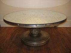 Silver Leaf Coffee Table with Mercury Glass Mirror   From a unique collection of antique and modern coffee and cocktail tables at https://www.1stdibs.com/furniture/tables/coffee-tables-cocktail-tables/