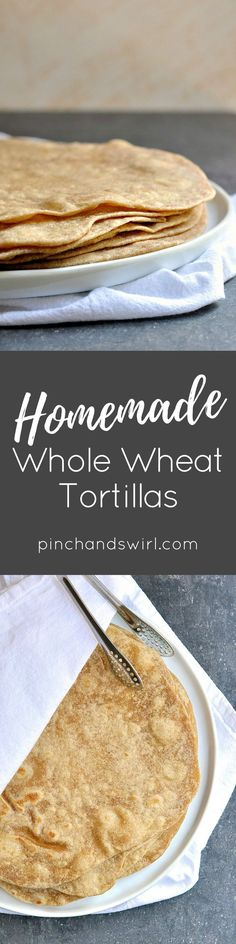 Make Homemade Whole Wheat Tortillas with just 4 ingredients and 30 seconds in the food processor (or 3 minutes kneading by hand). They are so much tastier than storebought tortillas! The tortilla dough comes together in just minutes with this recipe and making them is a snap: portion the dough, roll it out and cook in a dry skillet for a 30 seconds on each side. That's it! Use homemade tortillas for tacos, burritos, quesadillas, enchiladas or even tortilla pizzas for a quick and fun dinner…