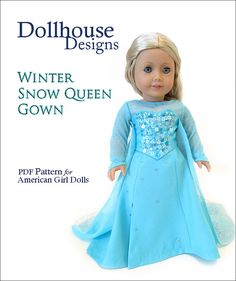 "Winter Queen Sewing Pattern for American Girl 18"" Dolls Dollhouse Designs DIGITAL DOWNLOAD DIY pdf"