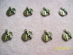 Antiqued Bronze/Brass Pumpkin Charms by GetStoneCreations on Etsy