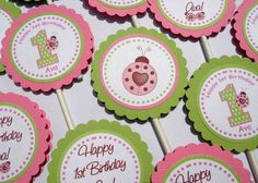 Pink Ladybug Cupcake Toppers - Set of 12 Personalized Birthday Party Decorations - 1st Birthday