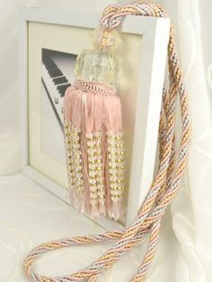 5 Colors QYM39 Polyester and Acrylic Curtain Tassel Tie Backs in Pink Color