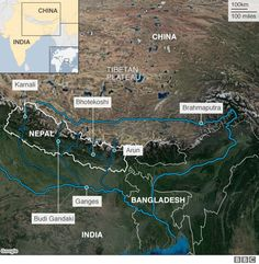 A map showing the Ganges and Brahmaputra river paths