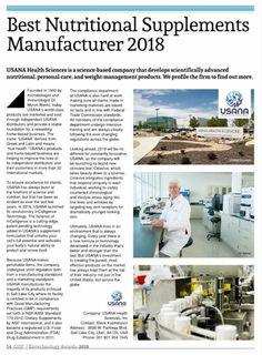 """USANA does it again! Recipient of the """"Best Nutritional Supplements Manufacturer prestigious award by Global Health & Pharma based out of U. Best Supplements, Nutritional Supplements, Health And Wellness, Health Care, Health Fitness, Wellness Industry, Intensive Training, True Health, Good Manufacturing Practice"""
