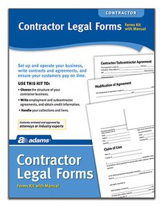 Contractor Legal Forms and Instructions Kit (Set of 6)