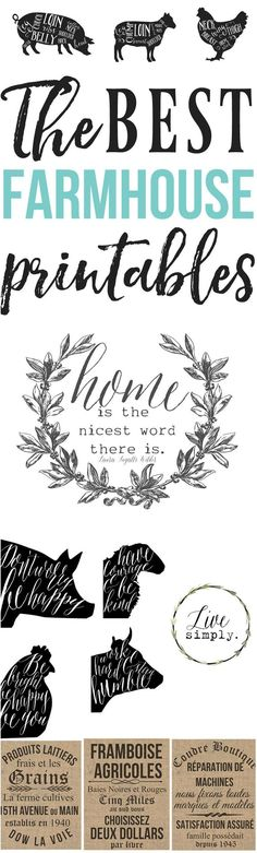French Farmhouse Printables Wall Decor – Hallstrom Home Need to spice up plain walls? That is why we created this French Farmhouse Printables W. Do It Yourself Inspiration, Inspiration Wall, Diy Décoration, Silhouette Cameo Projects, Free Silhouette Designs, Clipart, Free Printables, Printable Art, Printable Labels
