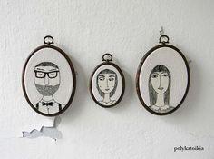 Custom Family Portrait,Set of 3,Personalized Portrait,Oval Custom Family Portrait,Hand Embroidered Custom Portrait,Embroidered Wall Art door polykatoikia op Etsy