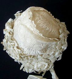 A enchanting white work Christening bonnet with masses of ribbon work surrounding the outer edges. A lovely frothy concoction. Wonderful for baby or collector Antique Lace, Vintage Lace, Antique Dolls, Baby Bonnets, Christening Gowns, Linens And Lace, Heirloom Sewing, Ribbon Work, Antique Clothing