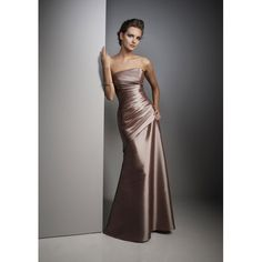 "A ""Fallow"" brown ruched full-length satin a-line evening gown or bridesmaid dress  -  lorabridalshop.com"