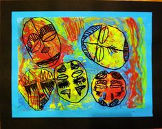 African Mask, abstract art, expressionism, acrylic, ink, and acetate, 6th grade.