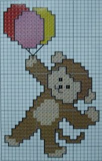 .Mono con globos punto de cruz